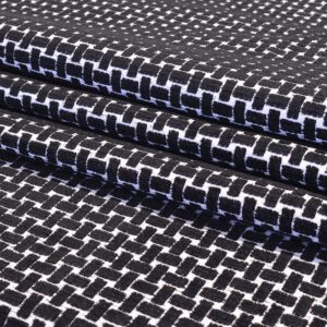 Black and White Basket Weave - Cotton/Polyester