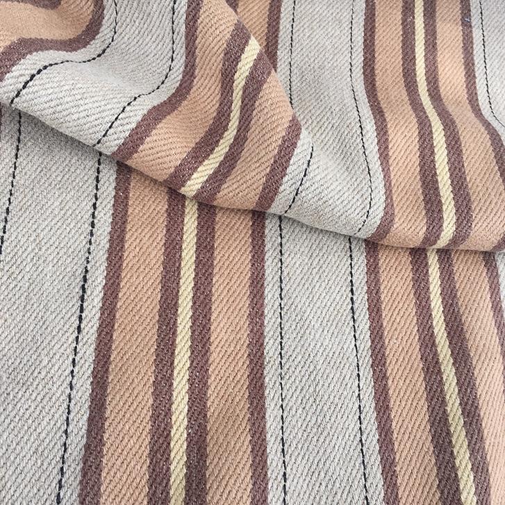 FH501 Caramel Striped Stonewash - 100% Belgian Linen