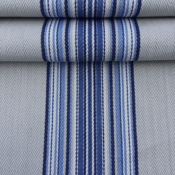 Weekend Blue striped french cotton fabric