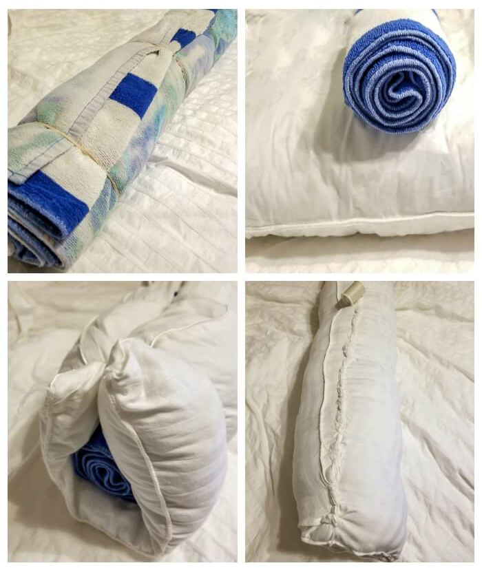 diy bolster pillow from old towels